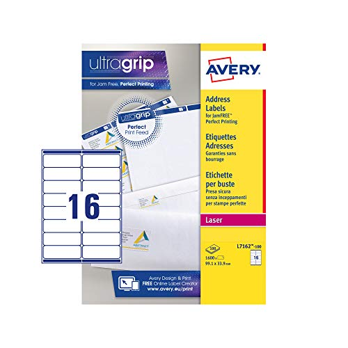 Price comparison product image Avery L7162-100 Self-Adhesive Address / Mailing Labels,  16 Labels Per A4 Sheet