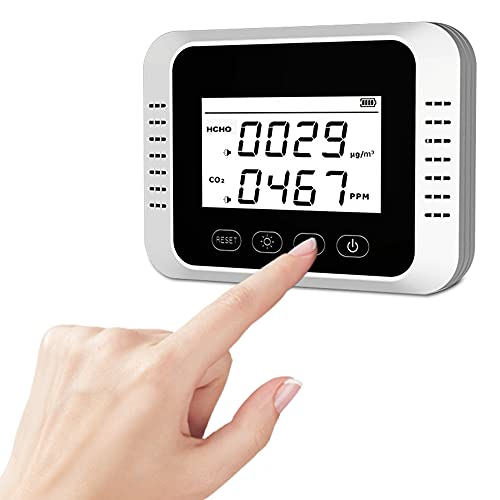 Rilevatore di CO2, Sistema di Allarme Automatico, Ricaricabile Rilevatore di Qualità dell'Aria, Misuratore HCHO