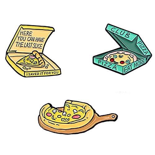 Bodhi2000 Broche de moda accesorio 3 broches esmalte en rodajas pizza esmalte insignia solapa Pins, mujeres niñas fiesta decoración regalos 3 piezas