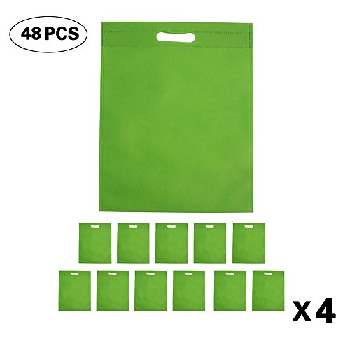 Set of 48 Promotional Nonwoven Heat Seal Reusable Tote Party Bag, Goodie Bags, Gift Bags Bulk With Die Cut Handles (Bright Green)