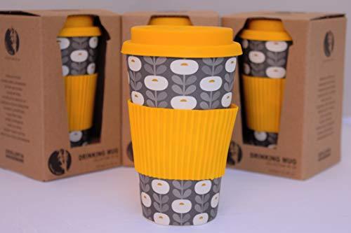 Tesson Vaso café de Bambú con Tapa. Vaso Bambu ecológico con Tapa y Agarre de Silicona. Reutilizable 425ml (Amarillo)