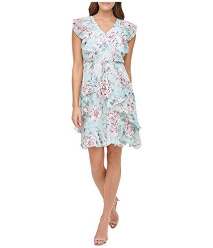 Tommy Hilfiger Damen Humming Garden Flutter Sleeve Chiffon Kleid, Seaspray/Ballerina Pink, 42