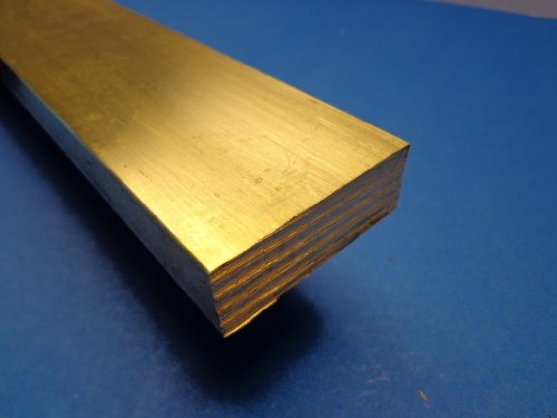 "Industrial Metal Sales- - 360 1/2 Hard Brass Flat Bar 1/2"" x 2"" x 12""-Long"