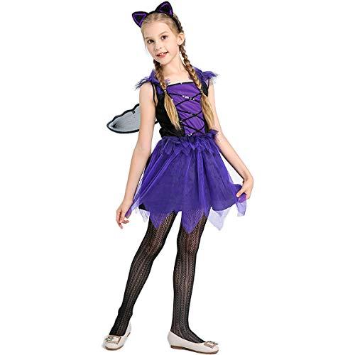 LHZTZKA Vestidos de Halloween Chica 1 Juego de Vestir para niños + Sombreros + Alas Chica Traje de Bruja Accesorio Hada Halloween Cosplay Vestido de Noche Vestido de Fiesta de Vampiro