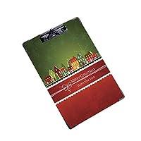 クリップボード 用箋挟 クロス貼 A4 短辺とじ 事務用品の文房具クリスマスタウン (1個)