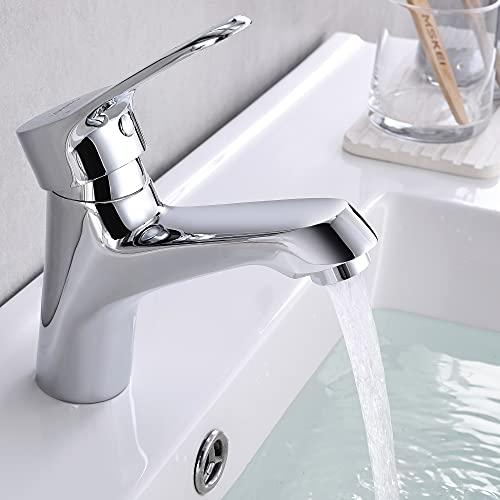 Lonheo Wasserhahn Bad Waschtisch Einhebelmischer aus Messing, Waschtischarmatur für Bad mit Schönes Design, Armatur Waschbecken für Kaltes und heißes Wasser, Chrom