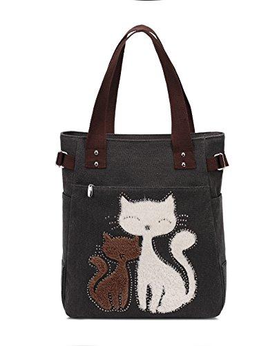 KAUKKO bolso de patrón de gato, Black, Talla única, Bolsos