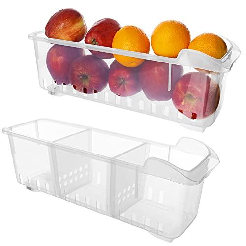 Kühlschrank Aufbewahrungsbox (2 Stück) - Kühlschrankschubladen (40cmx12cmx12cm) - Kühlschrank Organizer - Lebensmittel Aufbewahrungsbehälter fur Küchen, Regalen, Kühlschrank