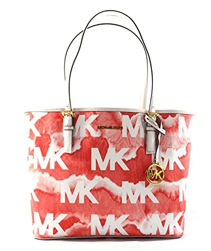 Michael Kors Jet Set Travel Medium Carryall Tote Shoulder Bag Purse Handbag (Grapefruit Multi)