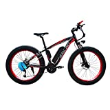 Not application Bici Electrica Adulto Fat Tire Bike Electric Mountain, 48V 1000 W,26 * 4.0Pulgadas Ruedas,con Batería De Litio Extraíble Y Cargador Black Red