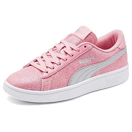Puma Damen Smash V2 Glitz Glam Jr Sneaker, Pfingstrosen Silber Weiß, 37 EU