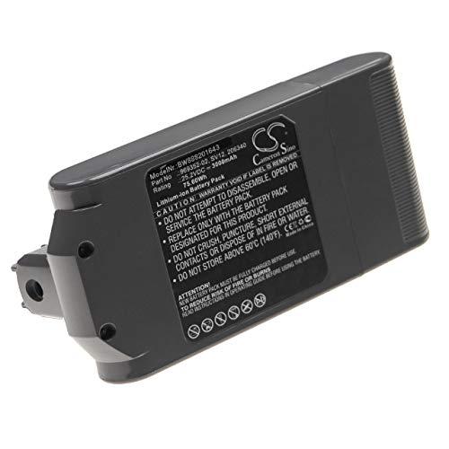 vhbw Batería recargable compatible con Dyson V10 Cyclone series, V10 Total Clean aspiradora, robot limpieza (3000 mAh, 25,2 V, Li-Ion)