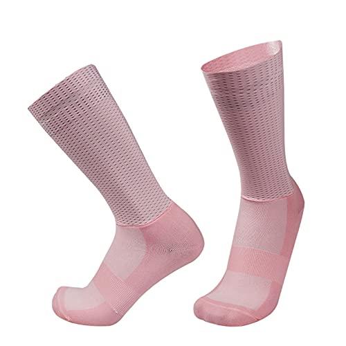 Calcetines de Ciclismo de Silicona Antideslizantes Ciclismo for Hombre Deportes de Ciclismo Running Ciclismo Calcetines (Color : Pink)