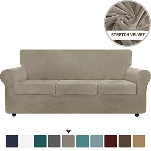 Chelzen Velvet Plush 4 Pieces Couch Covers for 3 Cushion Couch Super Stretch Anti Slip Spandex Sofa Slipcover Living Room Dogs Pets Furniture Protector with Elastic Bottom (Sofa, Khaki)