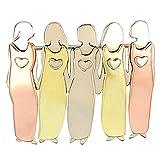 Duomu Friends Sister Brooch, diseño único de sisterhood Tri-Color Brooch, duradero, metal para chicas y mujeres