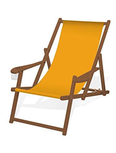 Holz-Liegestuhl mit Armlehne und Getränkehalter, Klappbar, mit dunkelbrauner Lasur, Wechselbezug (Gelb)