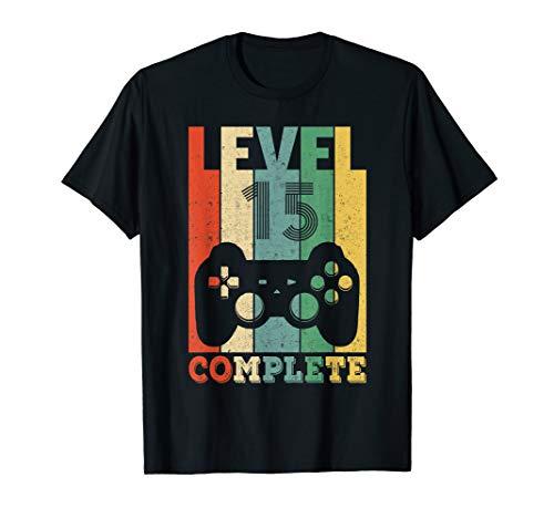 15. Geburtstag Junge Mädchen Gamer Zocker Level 15 Geschenk T-Shirt