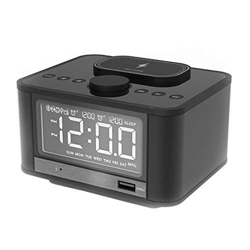 AFKK Reloj de Alarma Digital, Altavoz con Cargador inalámbrico rápido FM Radio para Habitaciones Bluetooth Habitaciones Dual Alarmas,Negro