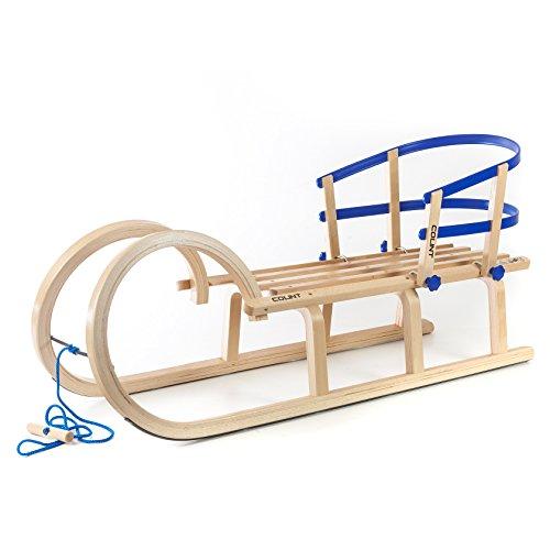 Colint HolzFee Baran 110 RL Blue Schlitten Set Hörnerschlitten Hörnerrodel mit Rückenlehne Blau + Zugseil