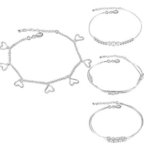 Gkmamrg Enkelbandjes, set van 4 stuks, zilver verguld, bolletjes, hart, enkelbandjes, armband, zomer, strand voetsieraad voor vrouwen en meisjes, 4 stuks
