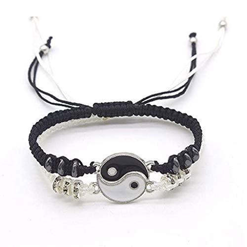Faguo 2Pcs Tai Chi Bff Friendship Best Friend Bracelets Lovers Yin Yang Bracelets Set