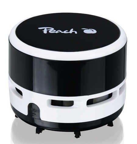 Peach PA105 mini stofzuiger | 1 stuk | werkt op batterijen (2 x AA) | hoge zuigkracht | zwart, lichtblauw, roze of pastelgeel