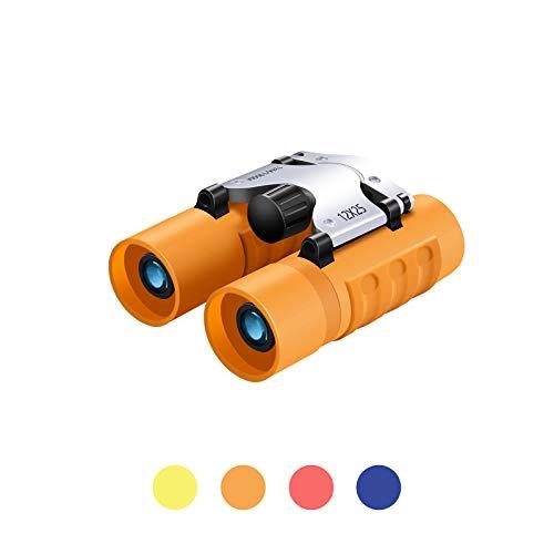 Binoculars for Kids, 12X25 Samll Lightweight Pocket Binoculars High Power Real Optics for Safari Concert Opera Theater 3-12 Years Boys Girls Best Gifts (Orange)