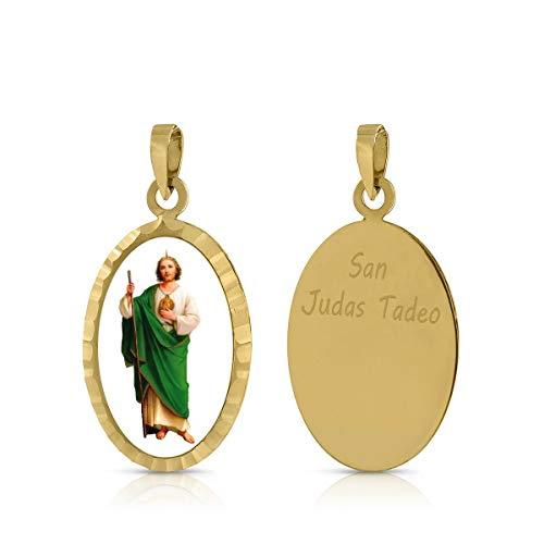 ROSA DI MANUEL Medalla Virgen comunión en Oro 18 k,para Mujer, niña Unisex. Medida 12 x 18 milímetros. Elija la suya.Pilar, Rocio, etc, (San Judas)
