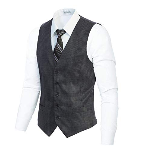 Gioberti Men's 5 Button Slim Fit Formal Herringbone Tweed Suit Vest, Gray Houndstooth, X Small