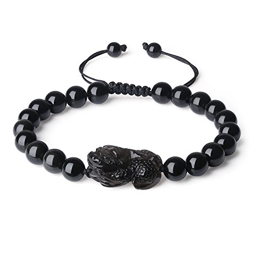 COAI Pulsera Ajustable para Hombre de Obsidiana Negra con Amuleto Pixiu M