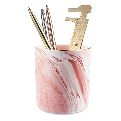 Zodaca Pen Holder, Ceramic Marble Pencil Cup Desk Organizer Makeup Brushes Holder with Gold Accent, Pink