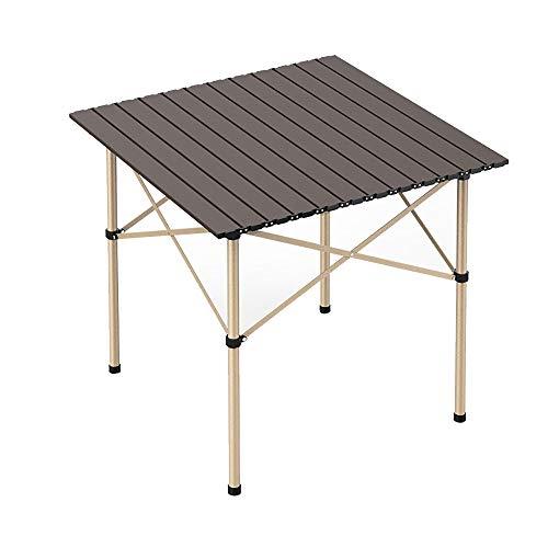 Petite Table Pliante en Aluminium Léger Table Carrée Pliante Roll Up Top 4 Personnes Table Compacte avec Sac de Transport pour Camping Pique-Nique Arrière-Cour Barbecue