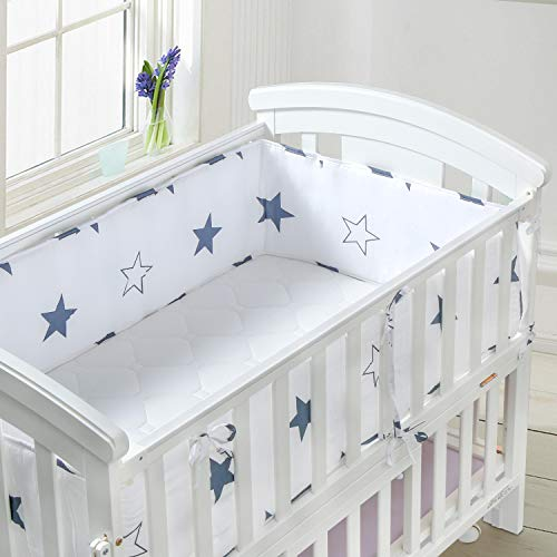 Luchild Baby Cot Bumper, Crib Bumper Wrap Around Protection 100% Cotton Crib Bumpers Bedding-360cm