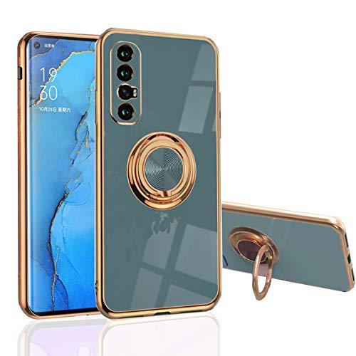 Hülle für OPPO Find X2 Neo - Slim Fit [Drehring Ständer] [Luxuriöse Gold Metall Farbe] Silikon Weiche TPU Abdeckung [Stoßfest] (Find X2 Neo, Grau)