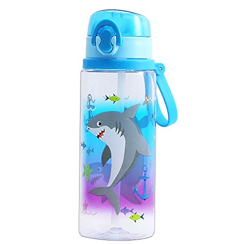 Cute Water Bottle with Straw for School Kids Boys, Soft Silicone Sipper & BPA FREE Tritan & Leak Proof One Click Open Flip Top & Easy Clean & Soft Carry Loop, 24oz / 700ml (Shark with Sipper)