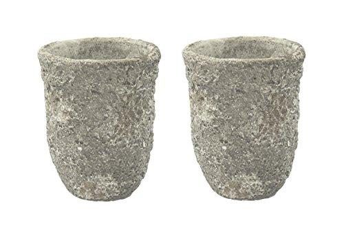 Pflanz-Gefäß Vase 18cm in Steinoptik 2 Stück