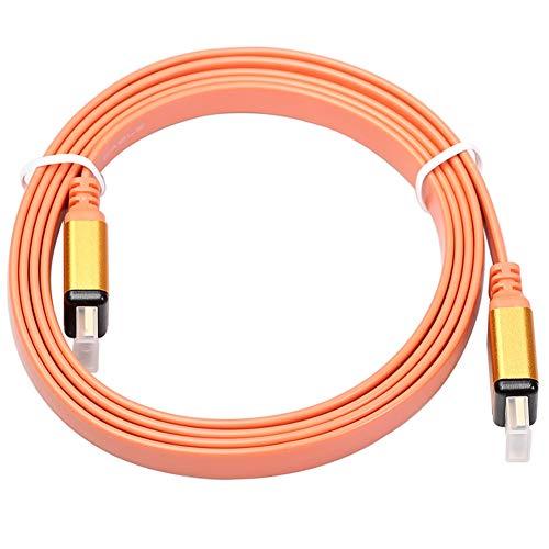 TOOGOO Carcasa de AleacióN de Aluminio de Alambre Plano VersióN 1.4 3D HD Cable para Link TV, Decodificador, Computadora, Monitor-1.8M (Naranja)