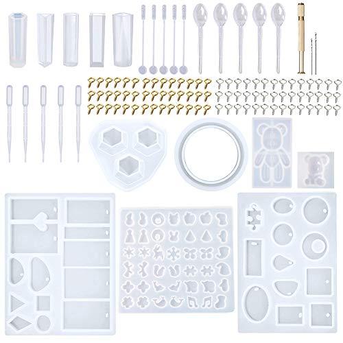 EuTengHao Juego de 229 moldes de fundición para joyas, más de 120 diseños que contiene 9 moldes de resina de silicona con 70 diseños, 1 moldes para pendientes con 25 diseños