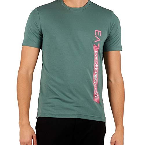 Emporio Armani EA7 Herren-T-Shirt, kurzärmelig, Dunkler Wald, L