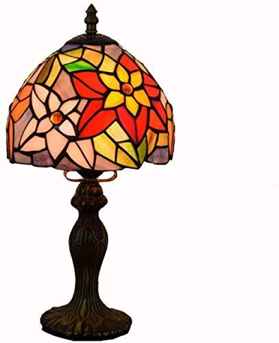 Tiffany Style Mesa Lámpara Ligera Luz Coloridos Pétalos Palanca Colorida Padre Niños Sala de estar Escritorio de noche Antiguo Zinc Base Artesanía Regalos