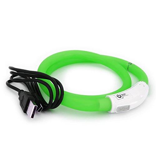 PRECORN LED USB Silicona Collar de Perro Luminoso Verde Collar Seguridad Cuello Tubo Recargable