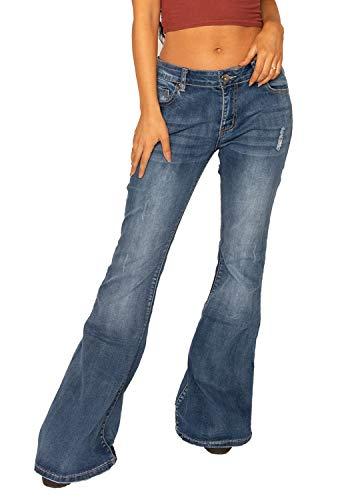 Glamour Outfitters 60er 70er verwaschene & zerrissene & Weite Schlagjeans im Distressed/gebrauchter Look - Blau 36