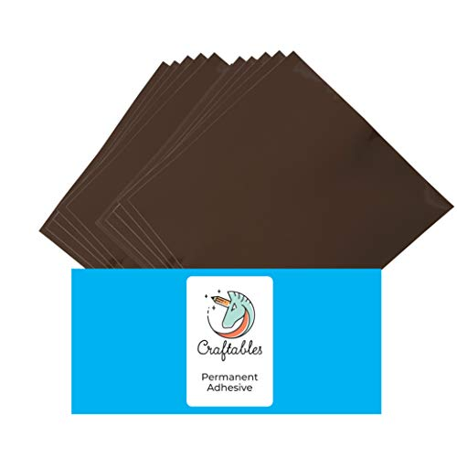 Craftables Brown Vinyl Sheets - Permanent, Adhesive, Glossy & Waterproof   (10) 12