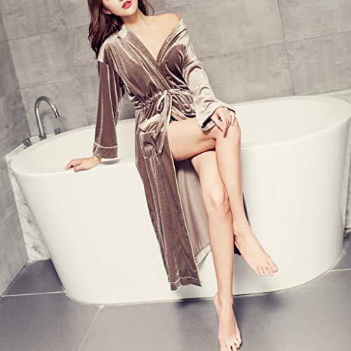 ZSQAW Terciopelo Coreano Gran Solapa otoño Invierno Manga Larga Vestido de Noche Dorado Terciopelo Correa Dama de Honor túnicas Mujer Color sólido Ropa hogar (Color : A)
