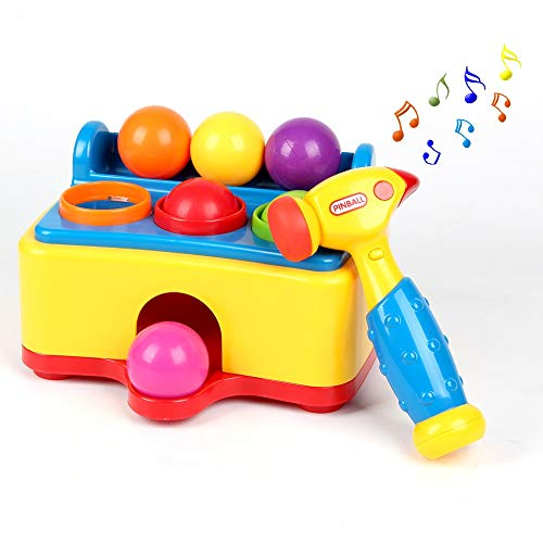 GREENRISE GOODS Pound a Ball Game Set w/ Hammer & 6 Colorful Balls – Fun Baby Toy Playset for Educational Play and Skill Development – Baby Pinball Popper Game with Lights and Sounds