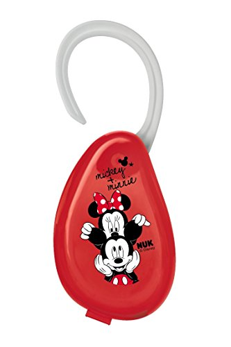 NUK Disney Mickey Schnullerbox, mit Aufhängung, für das praktische Aufbewahren von Schnullern, ideal für unterwegs, 1 Stück, rot
