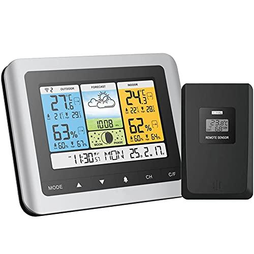 EastMetal EstacióN Meteorológica con Wireless Sensors, Weather Station con Retroiluminación Digital en Color, con Temperatura/Humedad/Barométrico/Pronóstico/Reloj Despertador, para Jardín Dormitorio