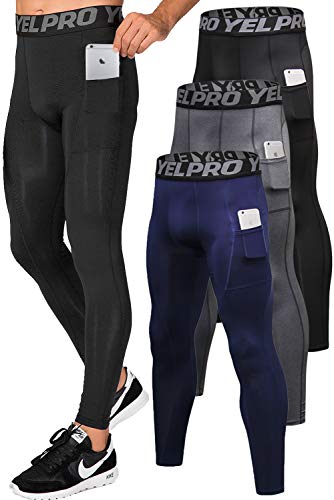 Lavento Men's Compression Pants Running Tights Leggings with Phone Pockets (3 Pack-3911 Black/Gray/Navy Blue,Medium)