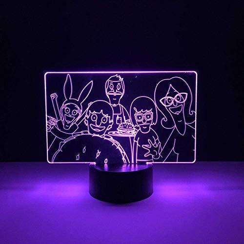 Lámpara de ilusión 3D Luz de noche LED Dibujos animados Bobs Burger Bebé para niños Dormitorio Decorativo Regalos lindos para niños Lámpara de mesa de control inteligente