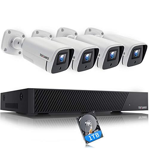 TOGUARD 5MP PoE Kit de videovigilancia, 8 canales NVR 4X 1920P IP cableado sistema de vigilancia de cámara externa con cable con disco duro de 1 TB, H.265, detección de movimiento, acceso remoto